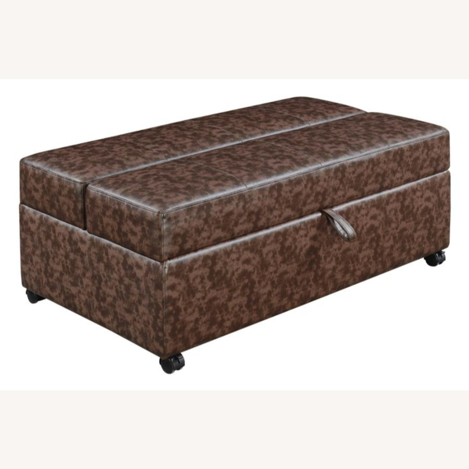 Multi-Functional Ottoman In Dark Brown Leatherette - image-0