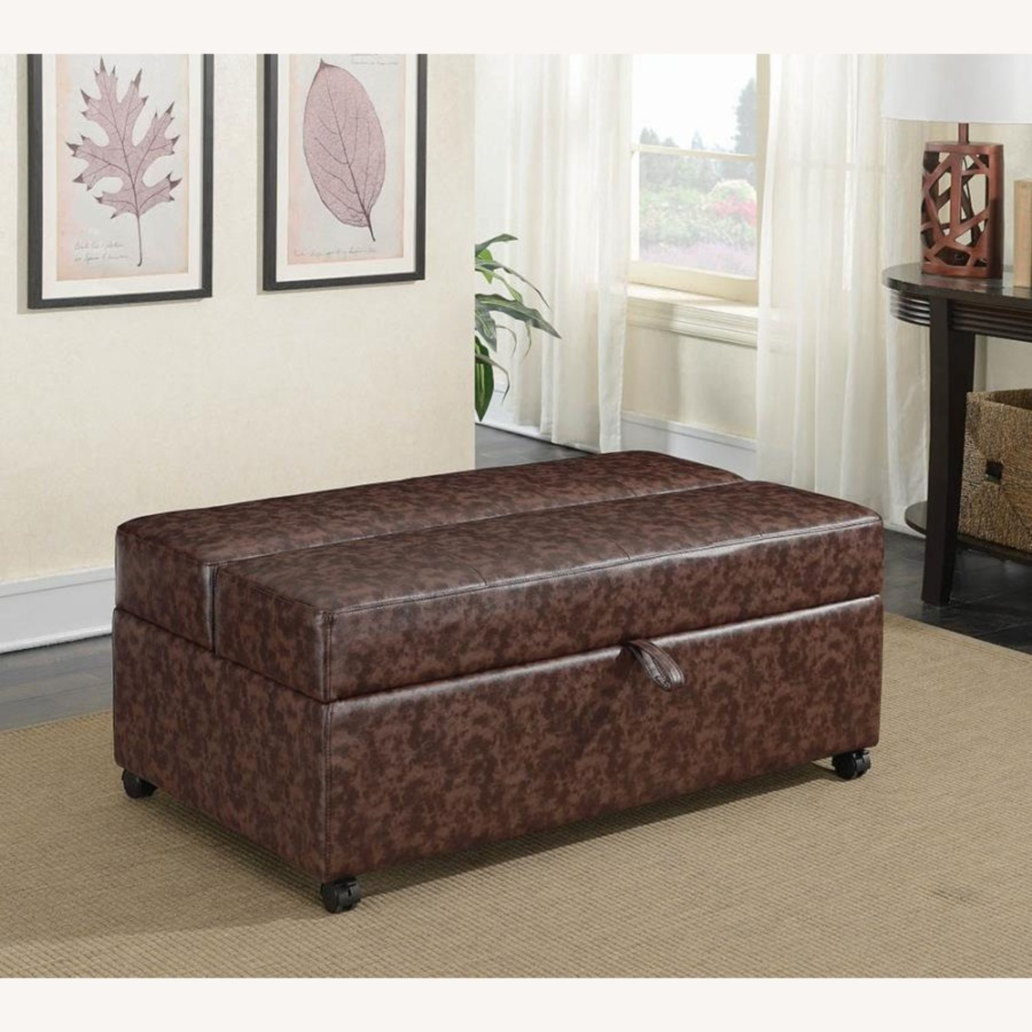 Multi-Functional Ottoman In Dark Brown Leatherette - image-4