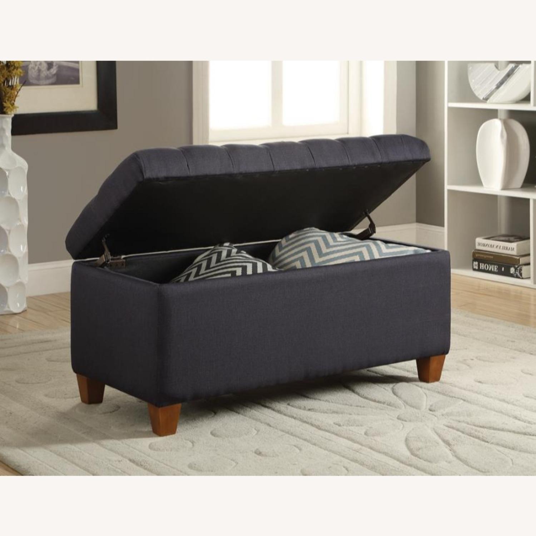 Bench In Dark Navy Fabric W/ Storage - image-3