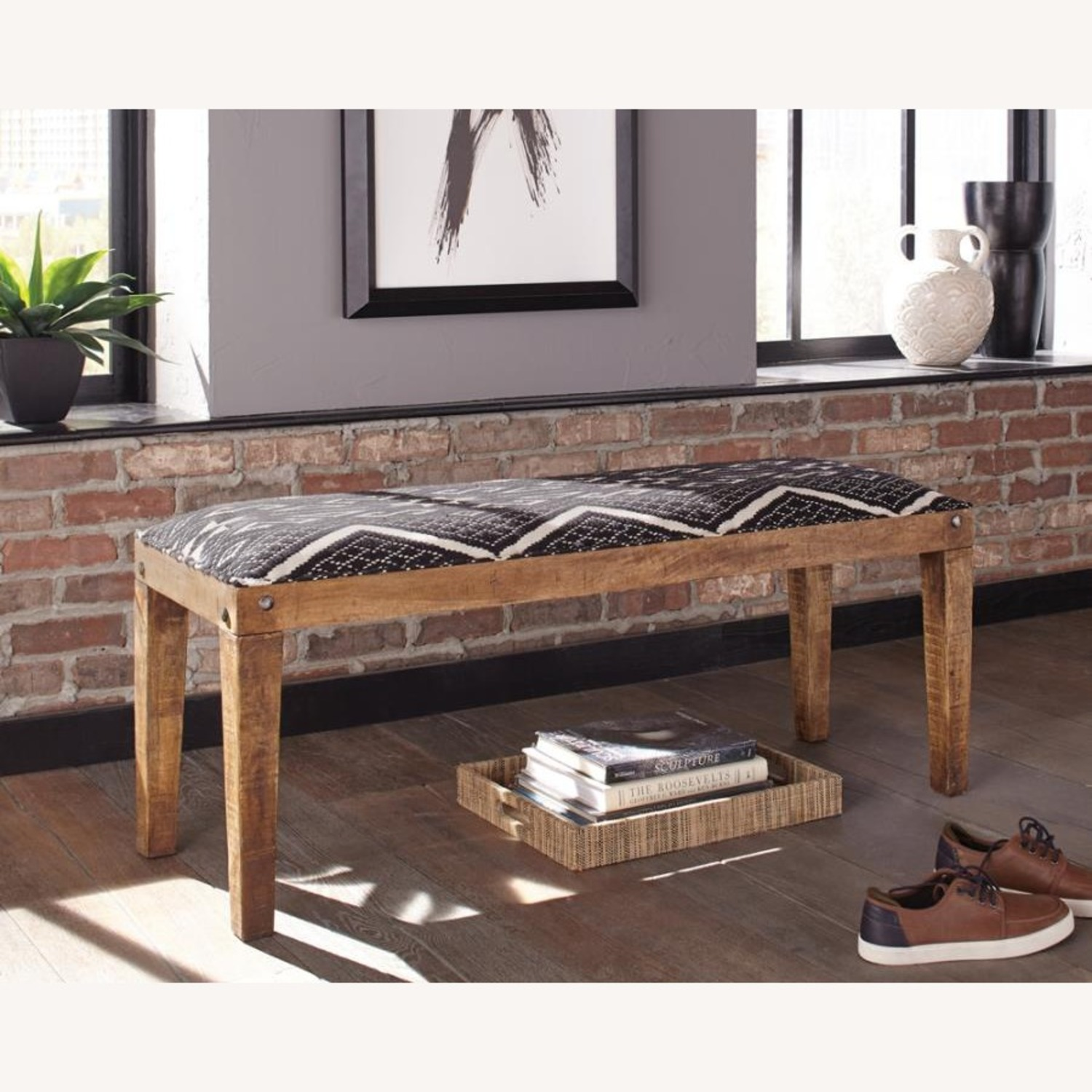 Bench In Bohemian Style White/Black Woven Fabric - image-1