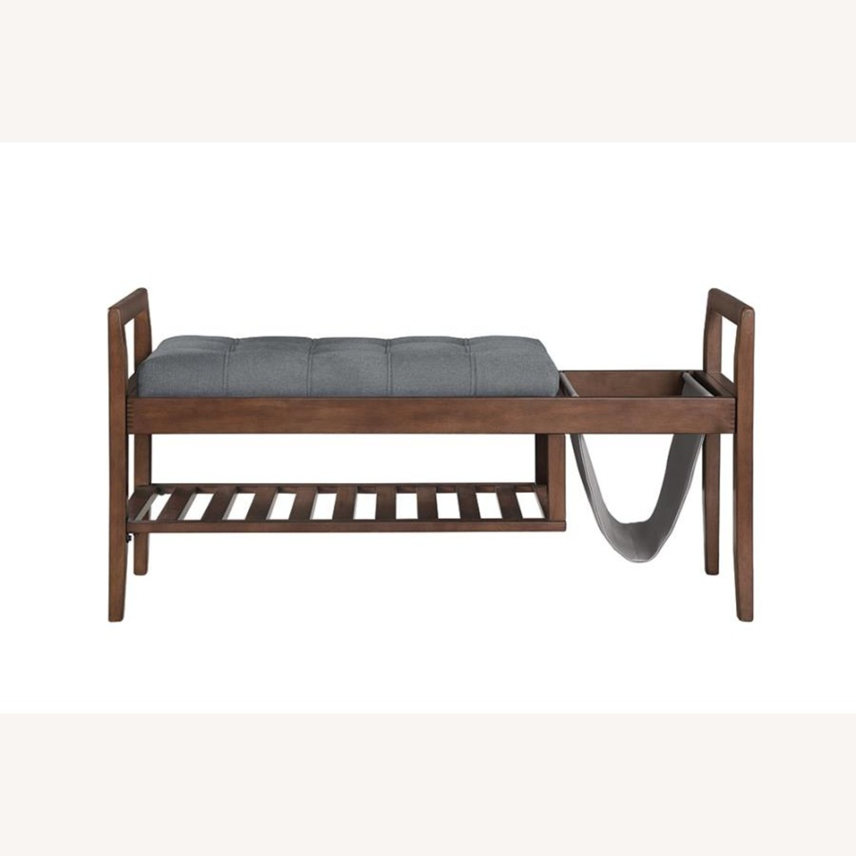 Bench In Grey Fabric W/ Plenty Of Storage - image-1