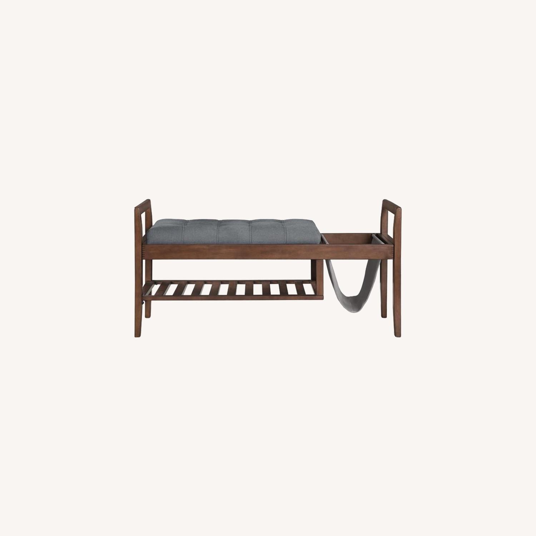 Bench In Grey Fabric W/ Plenty Of Storage - image-4