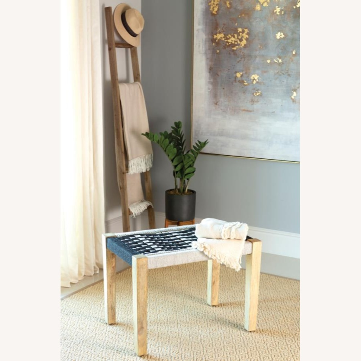 Bench In 2-Tone Black & White Woven Fabric - image-2