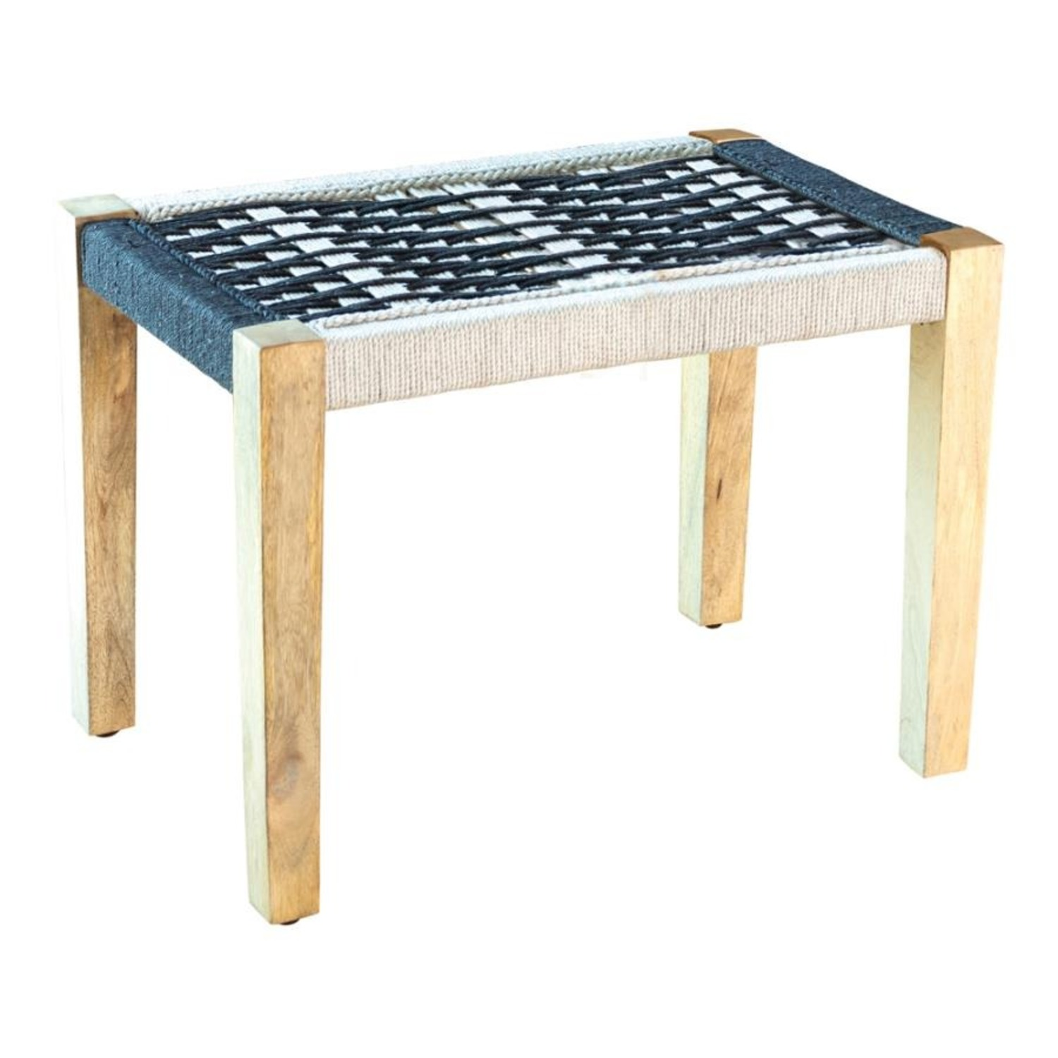 Bench In 2-Tone Black & White Woven Fabric - image-0