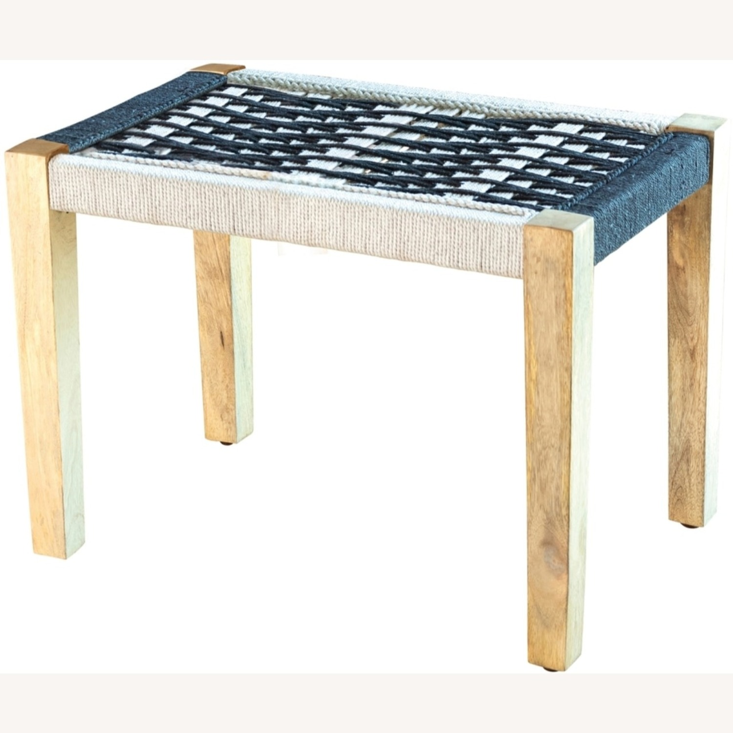 Bench In 2-Tone Black & White Woven Fabric - image-1