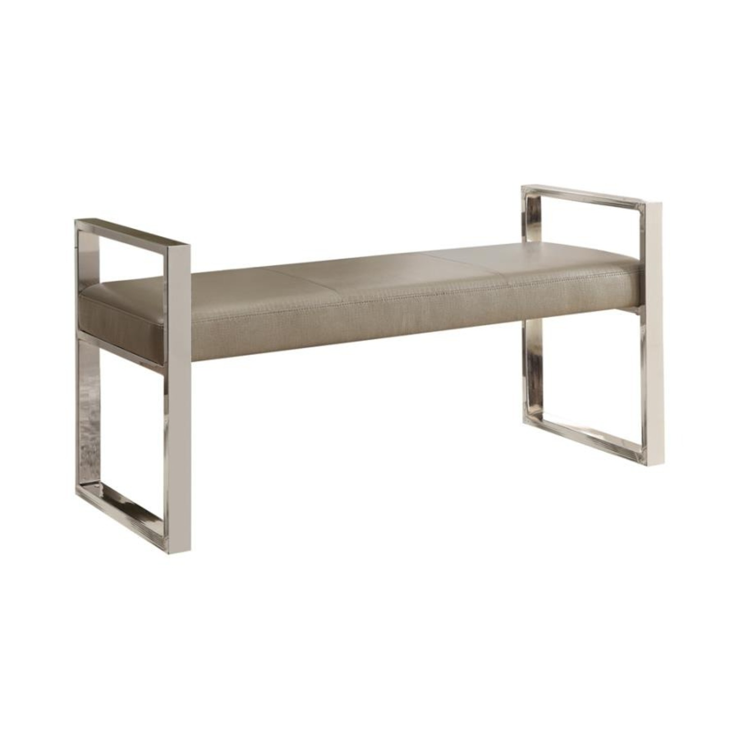 Bench In Champagne Leatherette W/ Chrome Base - image-0