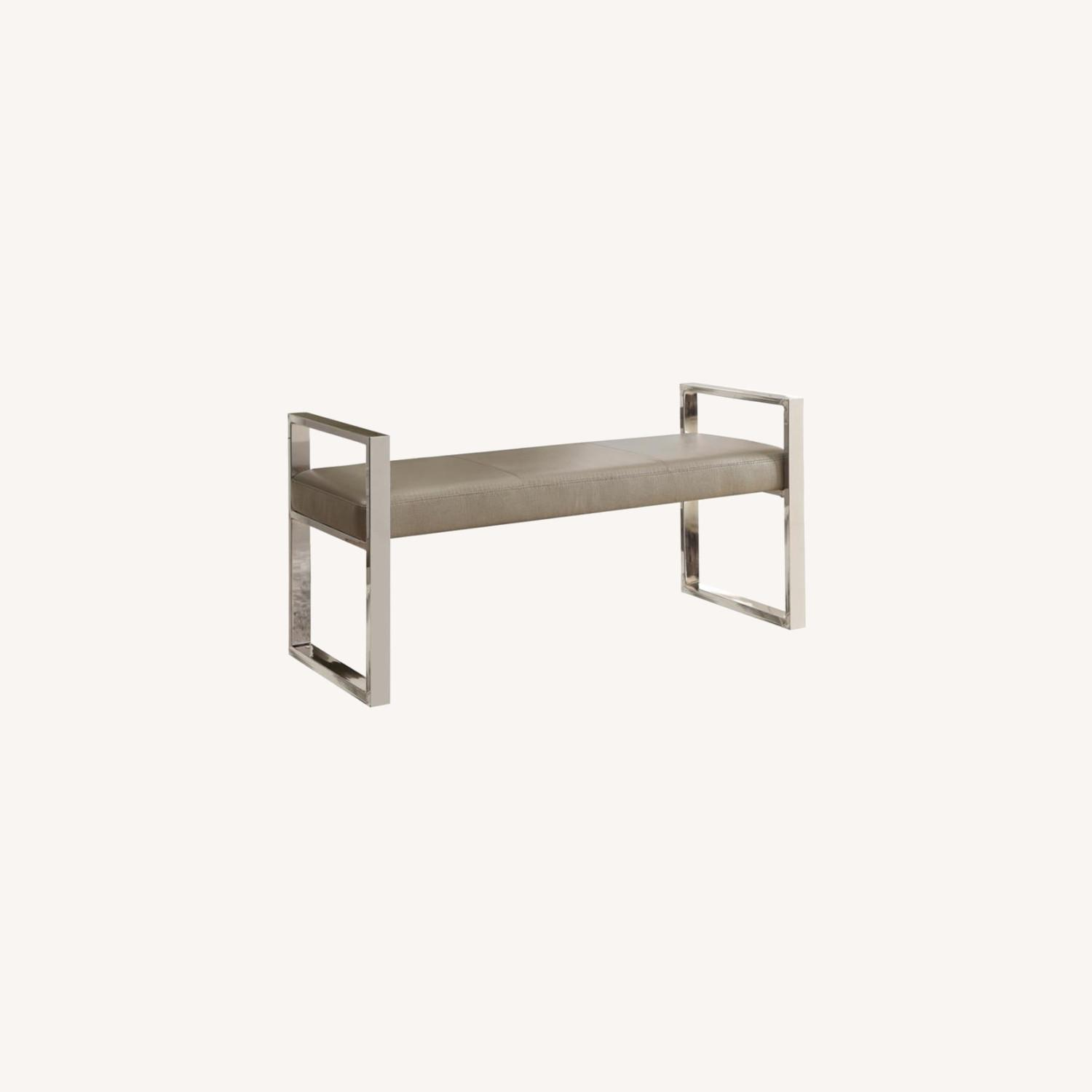 Bench In Champagne Leatherette W/ Chrome Base - image-3