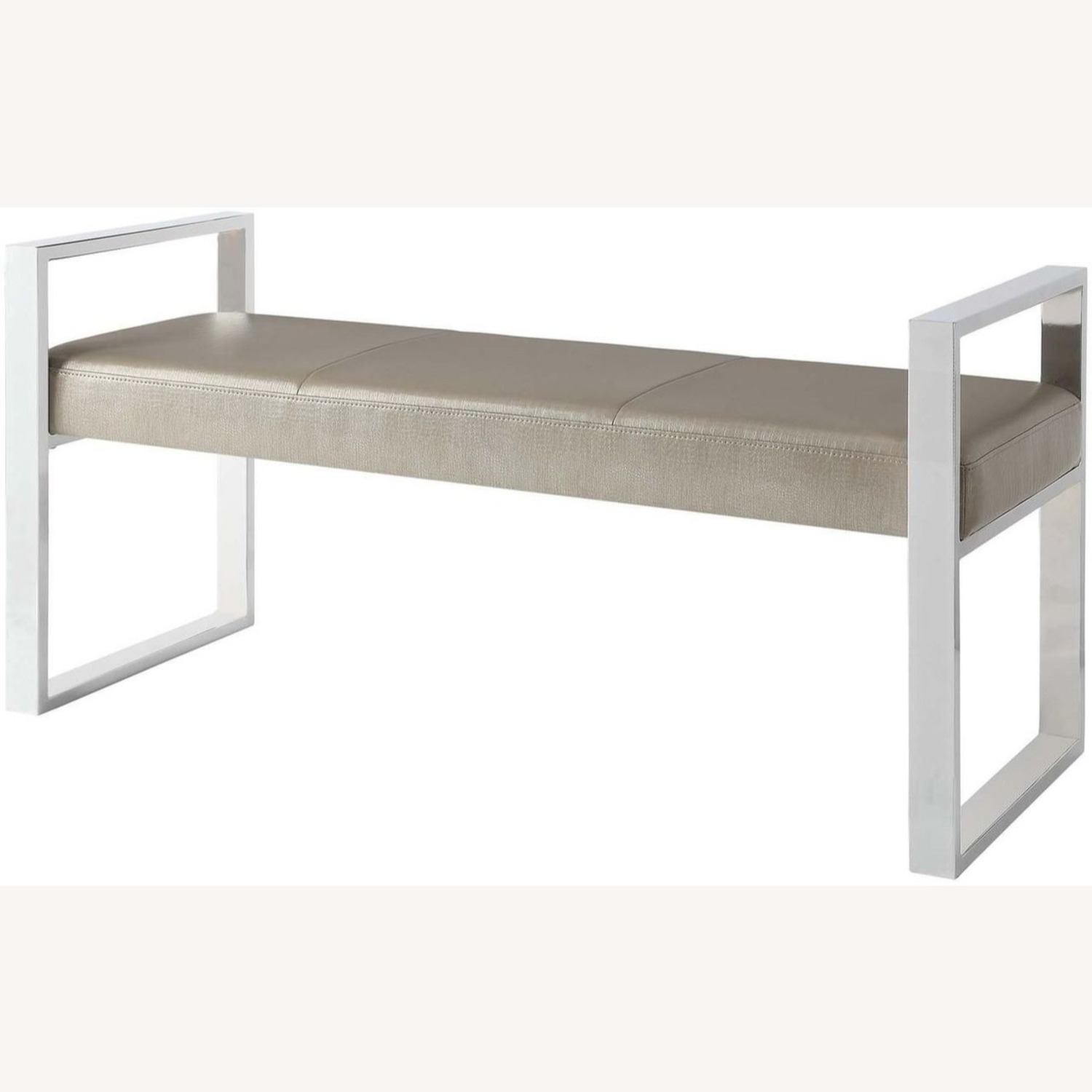 Bench In Champagne Leatherette W/ Chrome Base - image-1