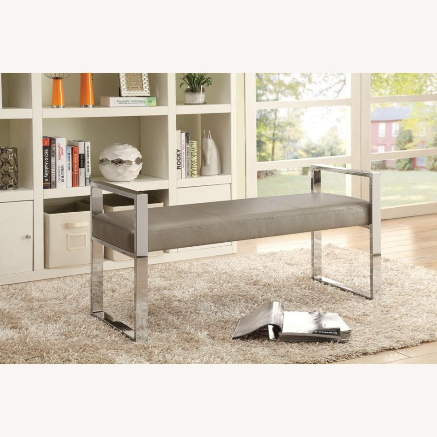 Bench In Champagne Leatherette W/ Chrome Base - image-2