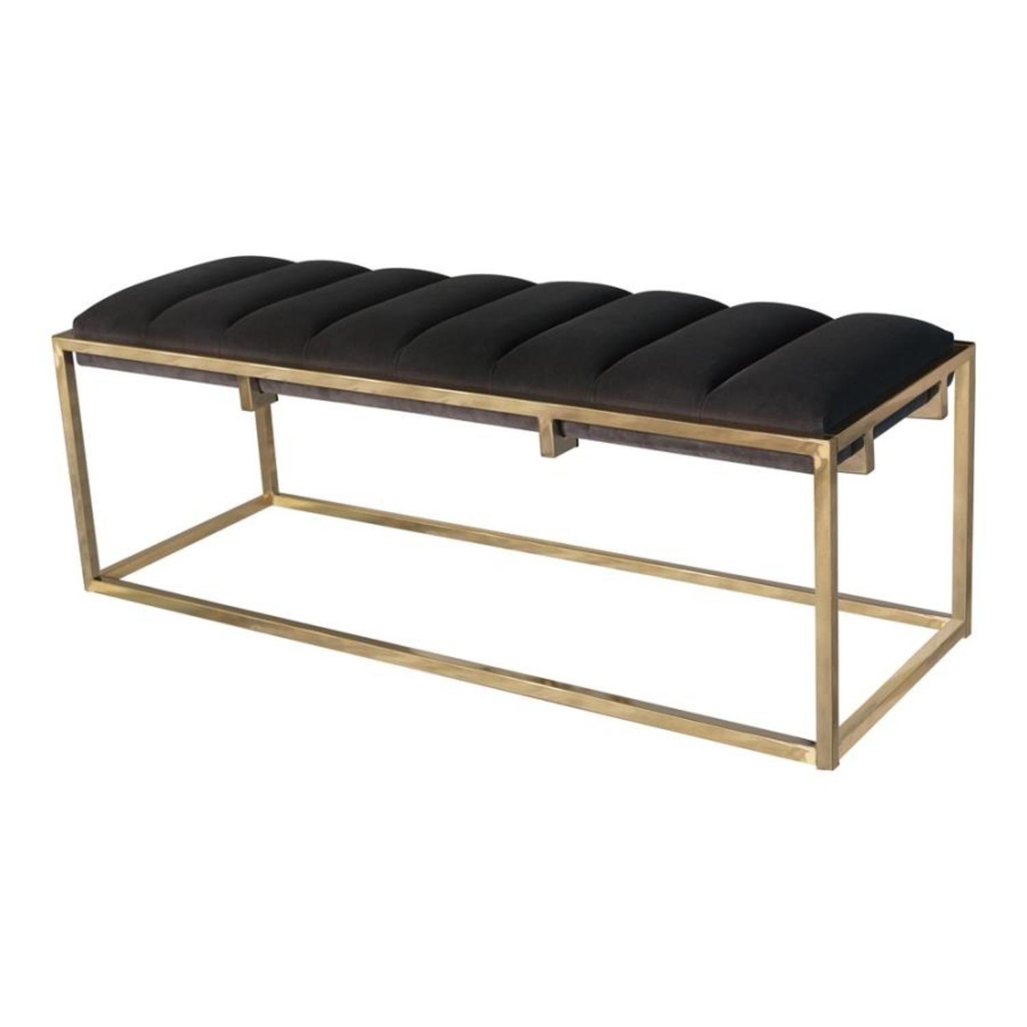 Modern Bench In Dark Grey Velvet W/ Gold Base - image-1