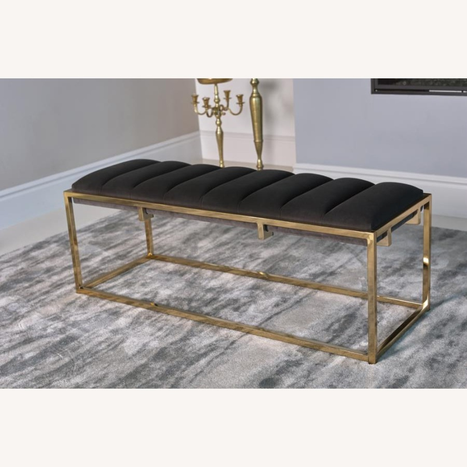 Modern Bench In Dark Grey Velvet W/ Gold Base - image-2