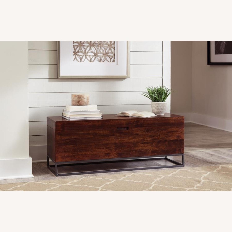 Storage Wood Bench In Rich Cinnamon Finish - image-2