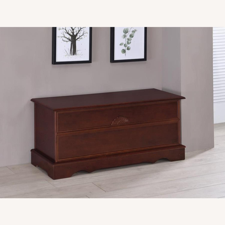 Cedar Chest W/ A Decorative Accent In Warm Brown - image-4