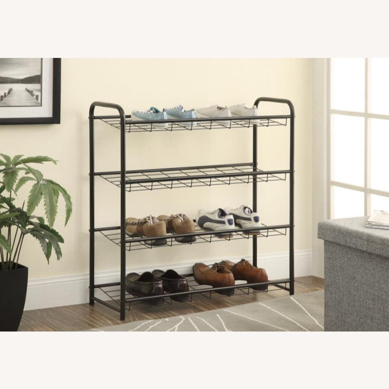 Shoe Rack W/ Four Shelves In Black Finish - image-2