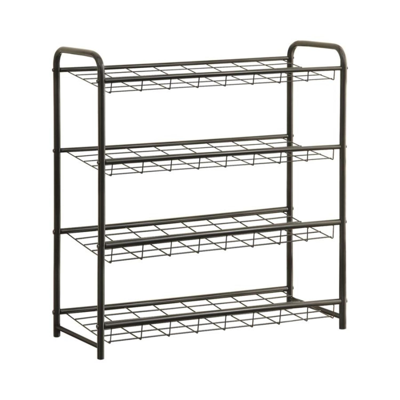 Shoe Rack W/ Four Shelves In Black Finish - image-0