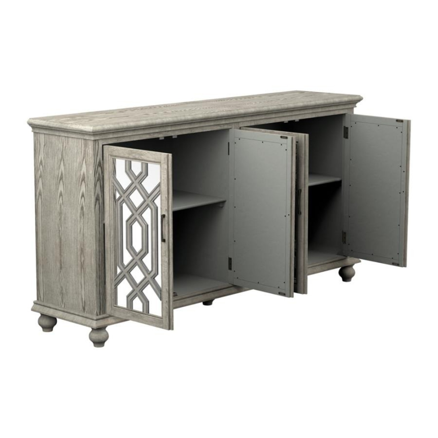 Accent Cabinet In Antique White W/ Bronze Details - image-1
