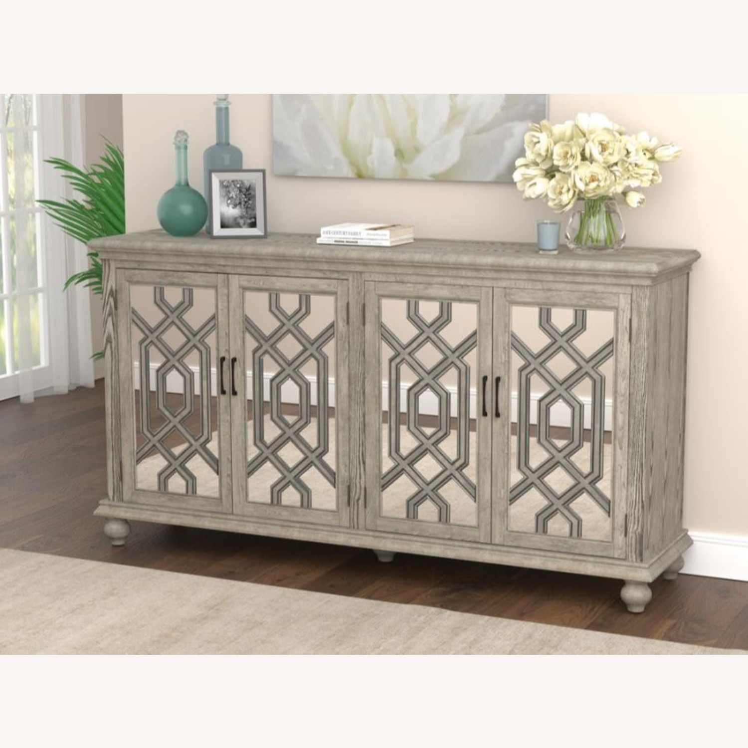 Accent Cabinet In Antique White W/ Bronze Details - image-5