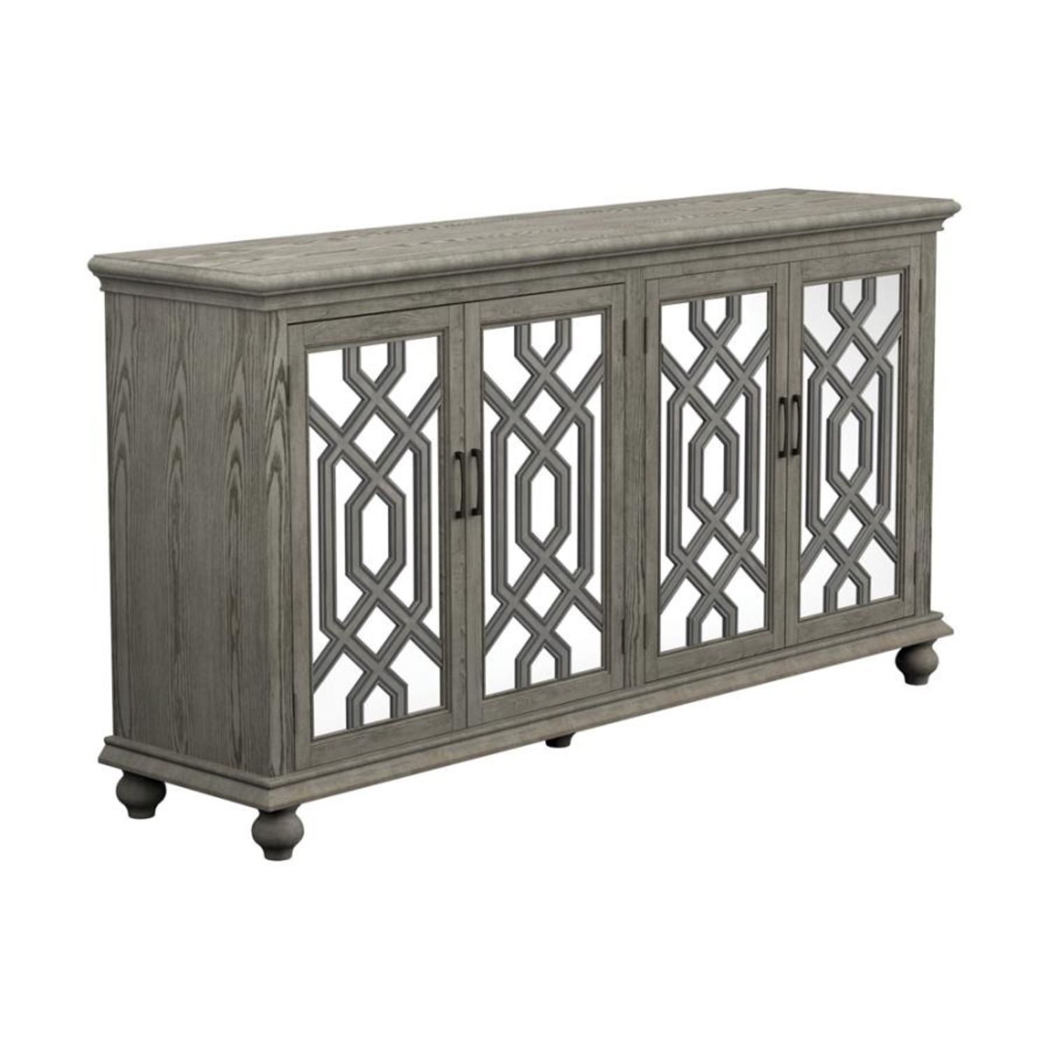 Accent Cabinet In Antique White W/ Bronze Details - image-0
