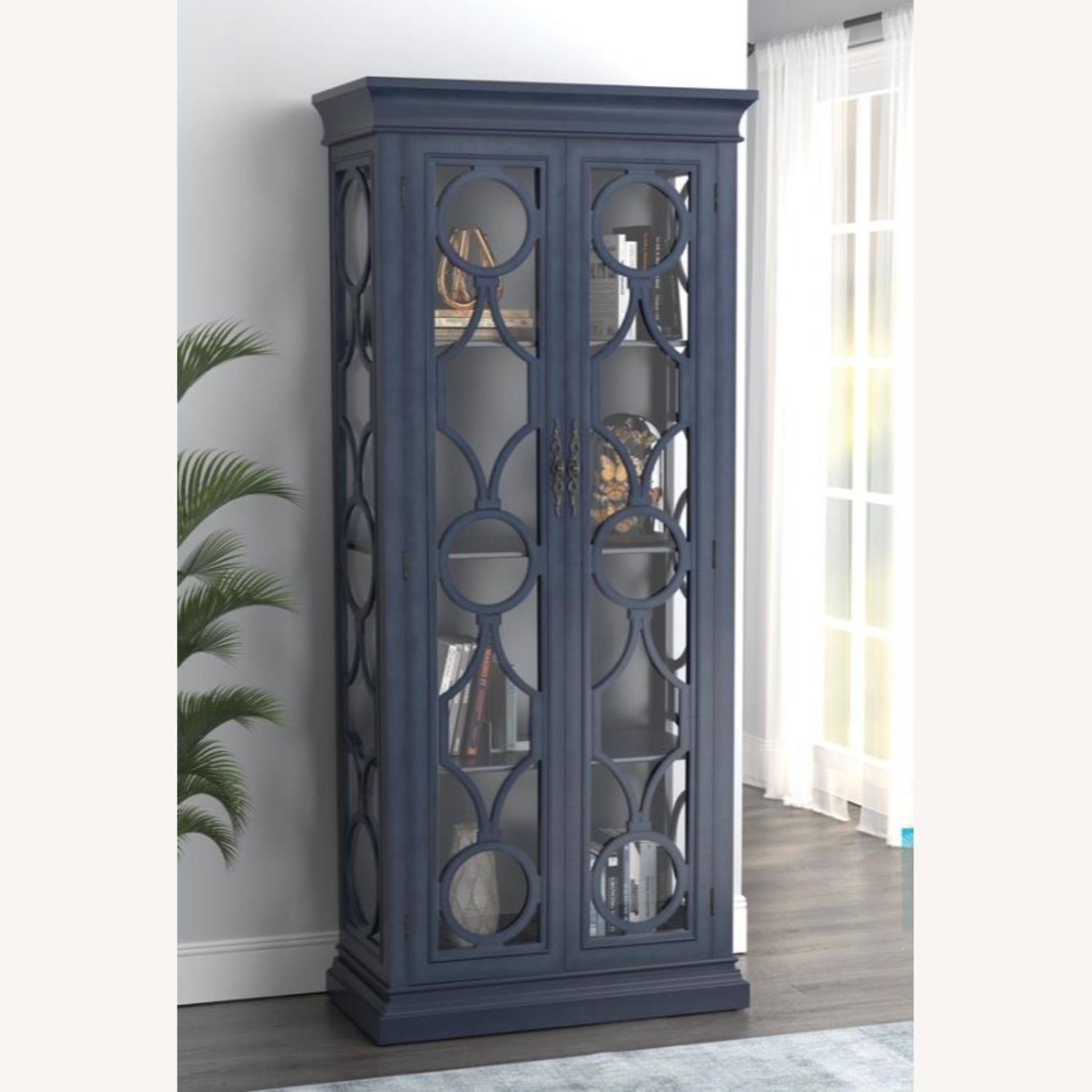 Tall Accent Cabinet In Grey Blue Finish - image-5