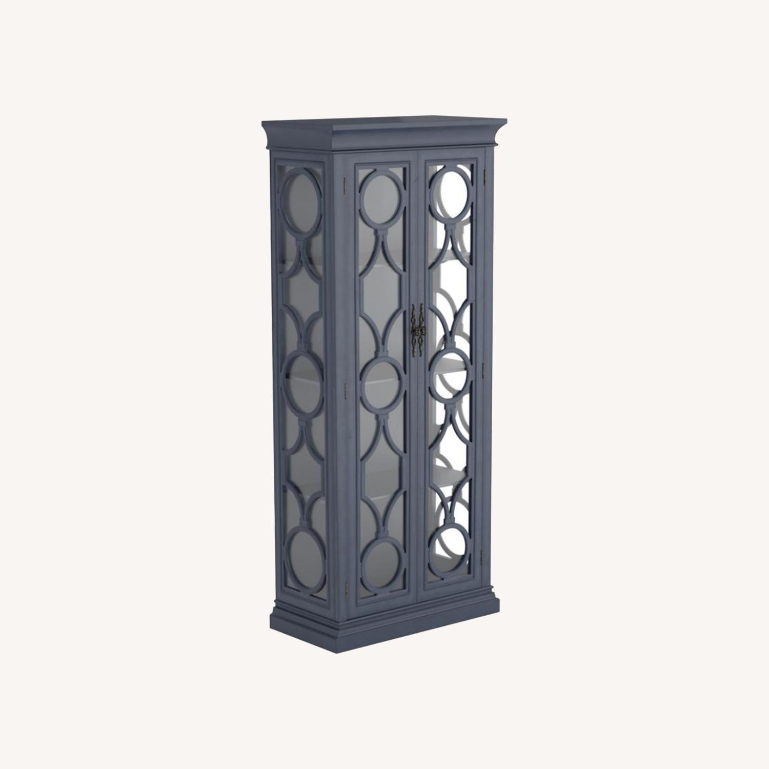Tall Accent Cabinet In Grey Blue Finish - image-6