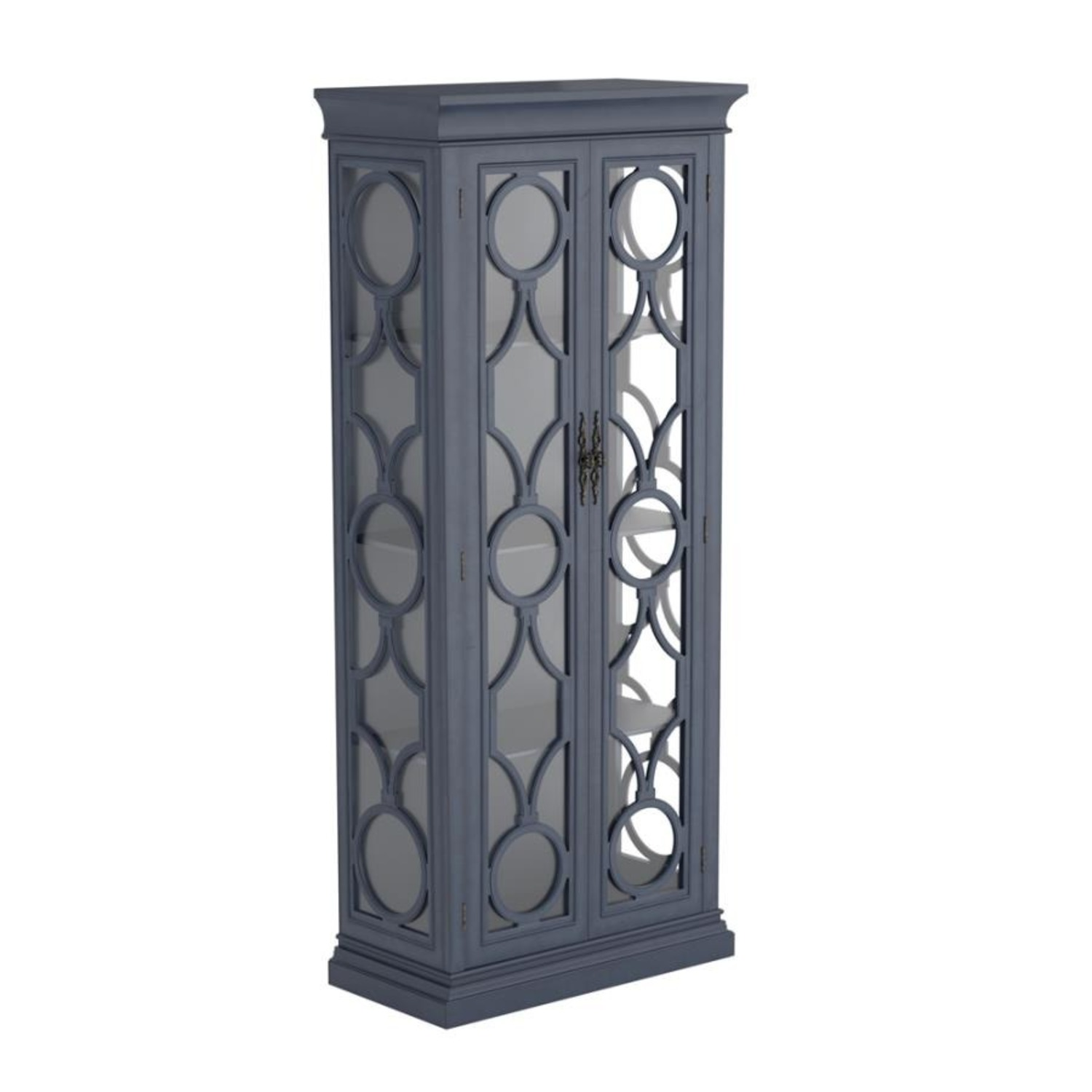 Tall Accent Cabinet In Grey Blue Finish - image-0