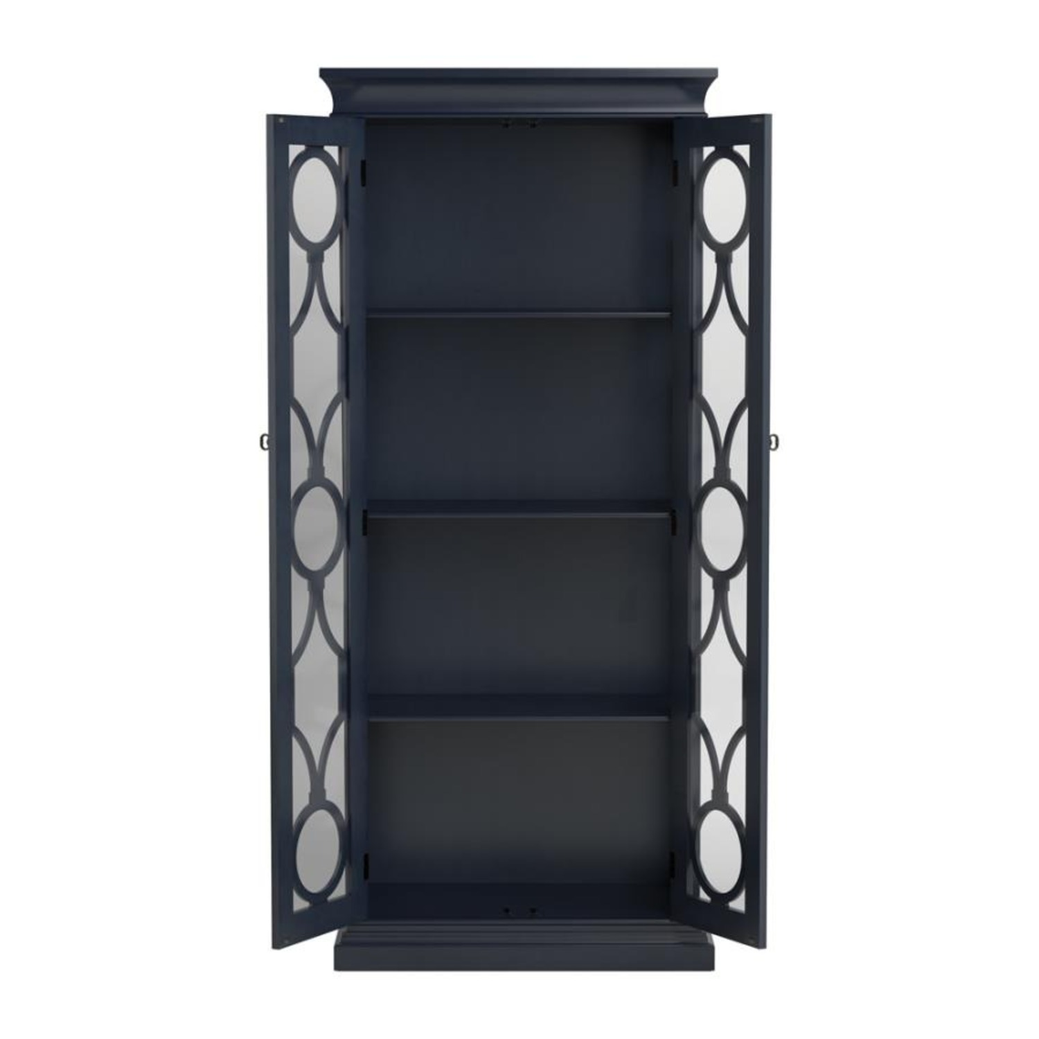 Tall Accent Cabinet In Grey Blue Finish - image-3