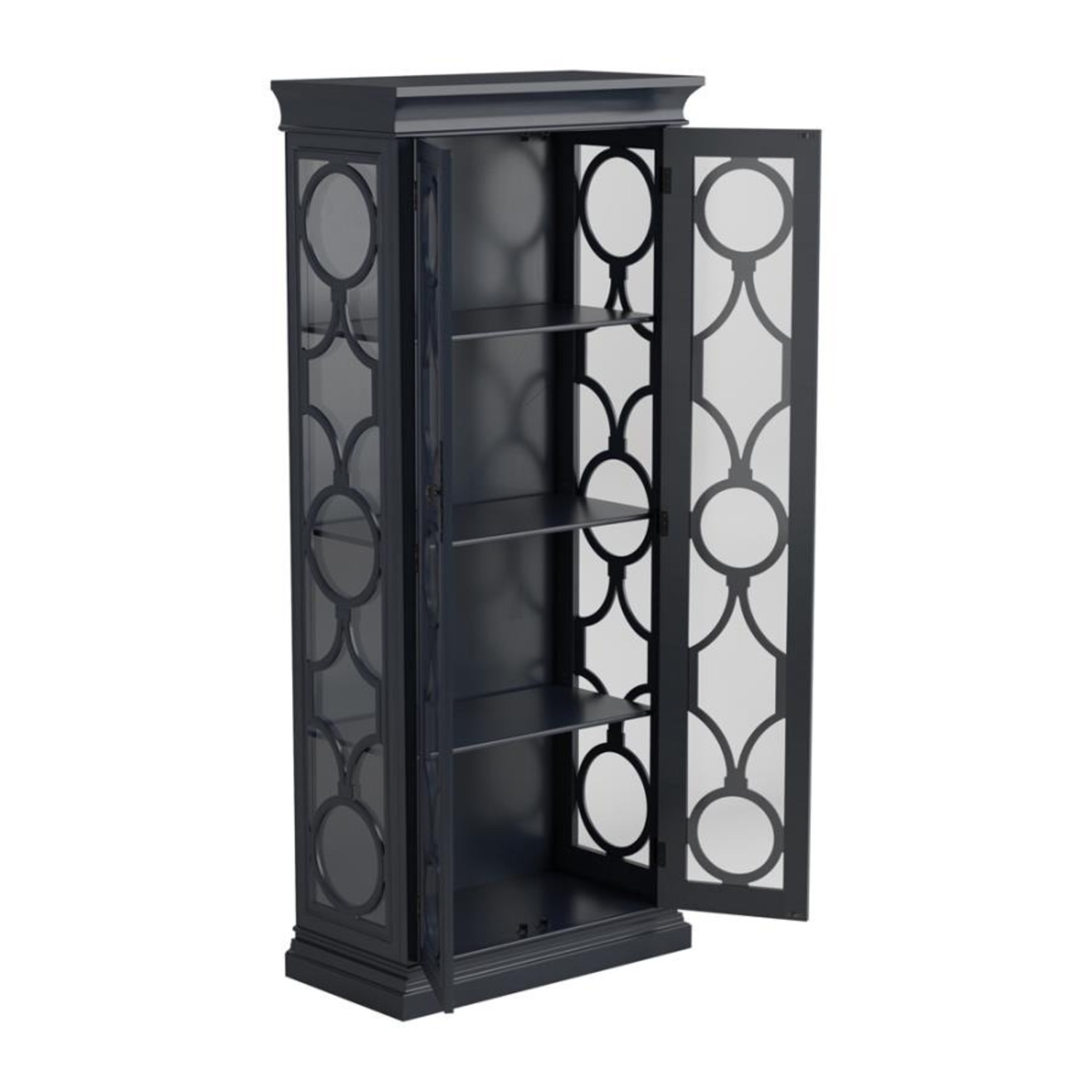 Tall Accent Cabinet In Grey Blue Finish - image-1