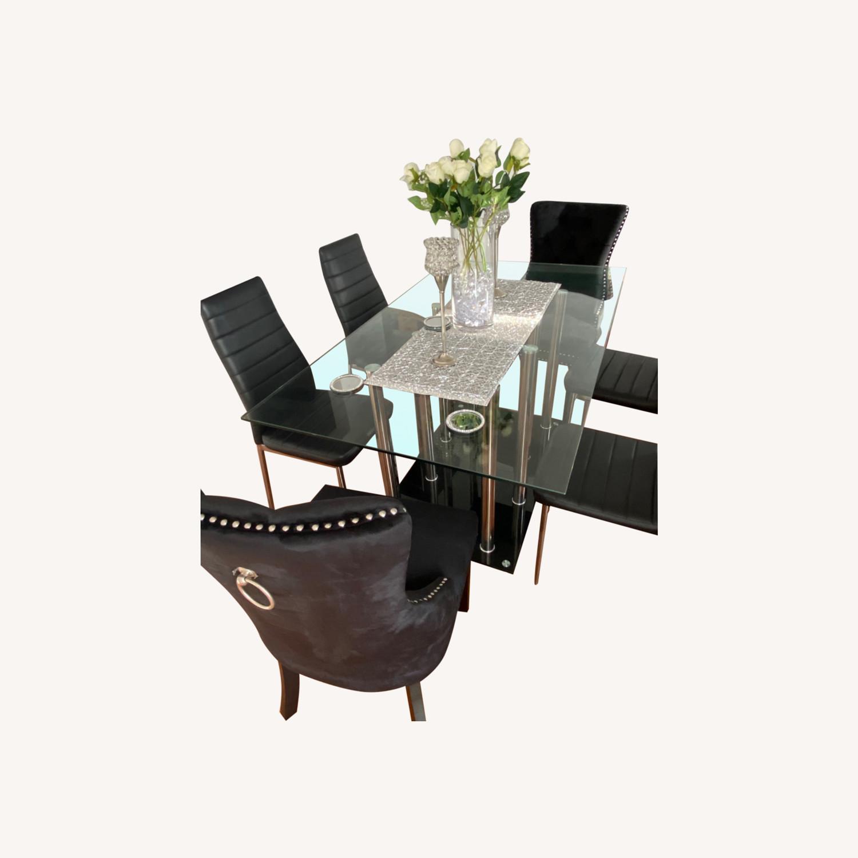 Raymour & Flanigan Chic Glass Dining Set - image-0