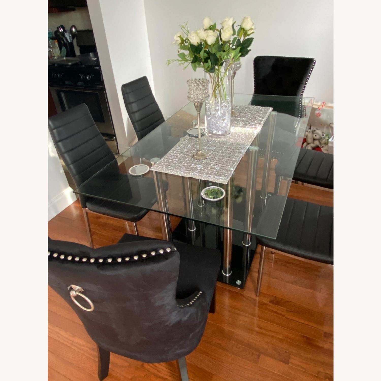 Raymour & Flanigan Chic Glass Dining Set - image-1
