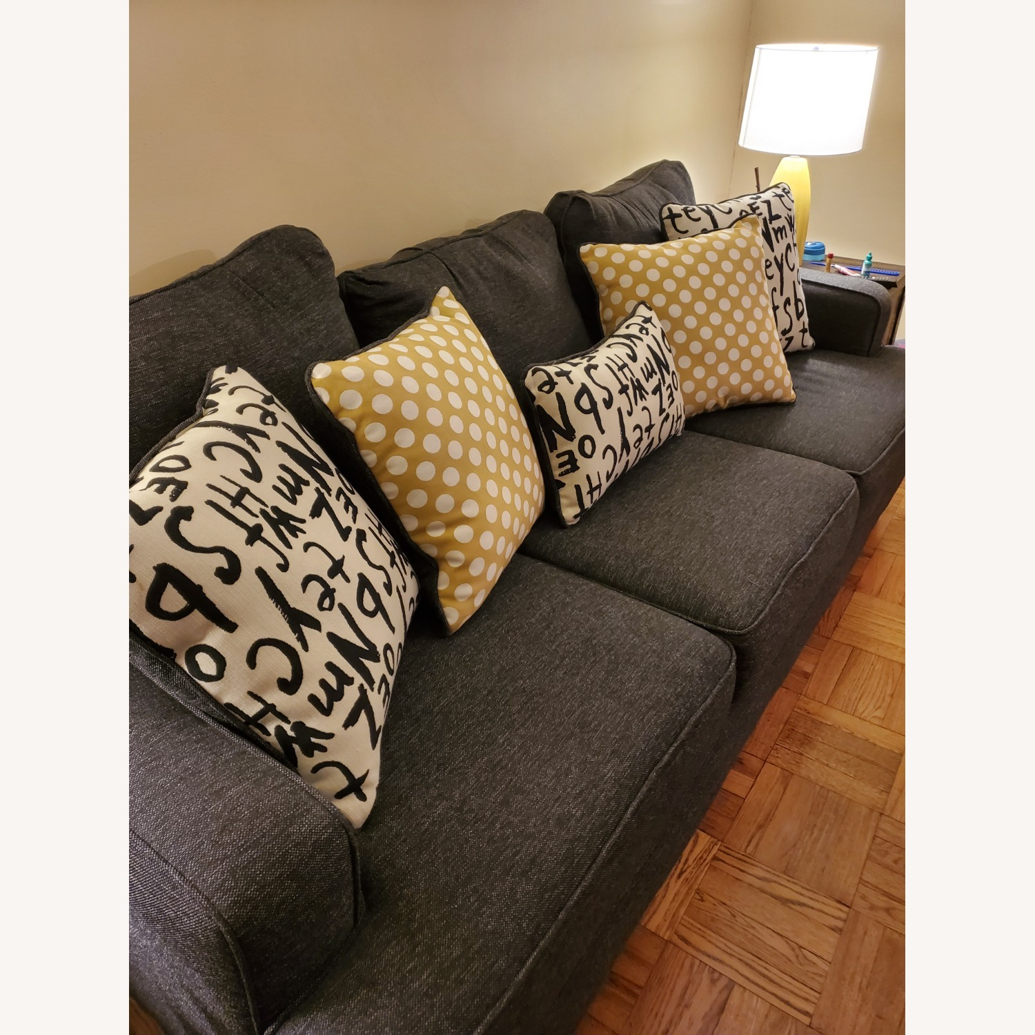 Raymour & Flanigan Grey Couch with Pillows - image-2