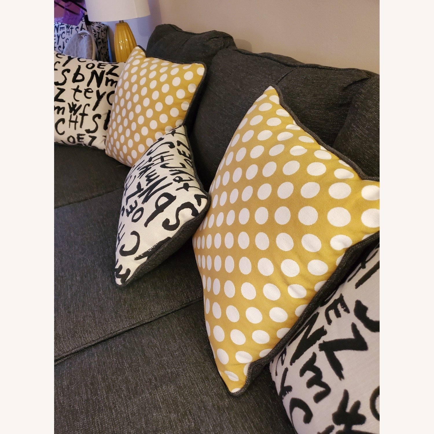 Raymour & Flanigan Grey Couch with Pillows - image-5