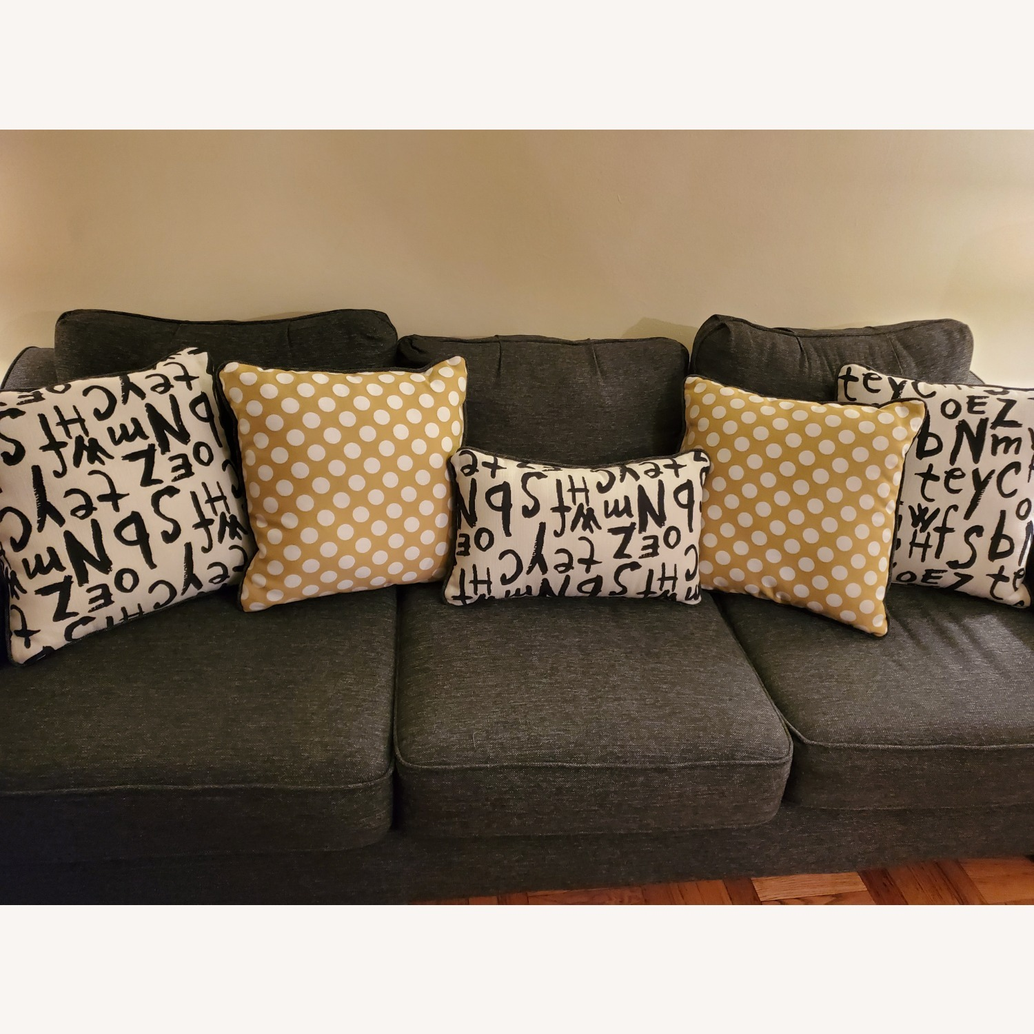 Raymour & Flanigan Grey Couch with Pillows - image-0