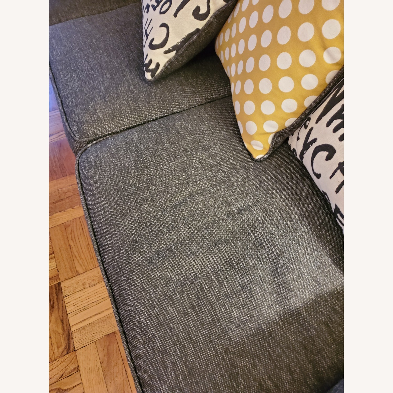 Raymour & Flanigan Grey Couch with Pillows - image-4