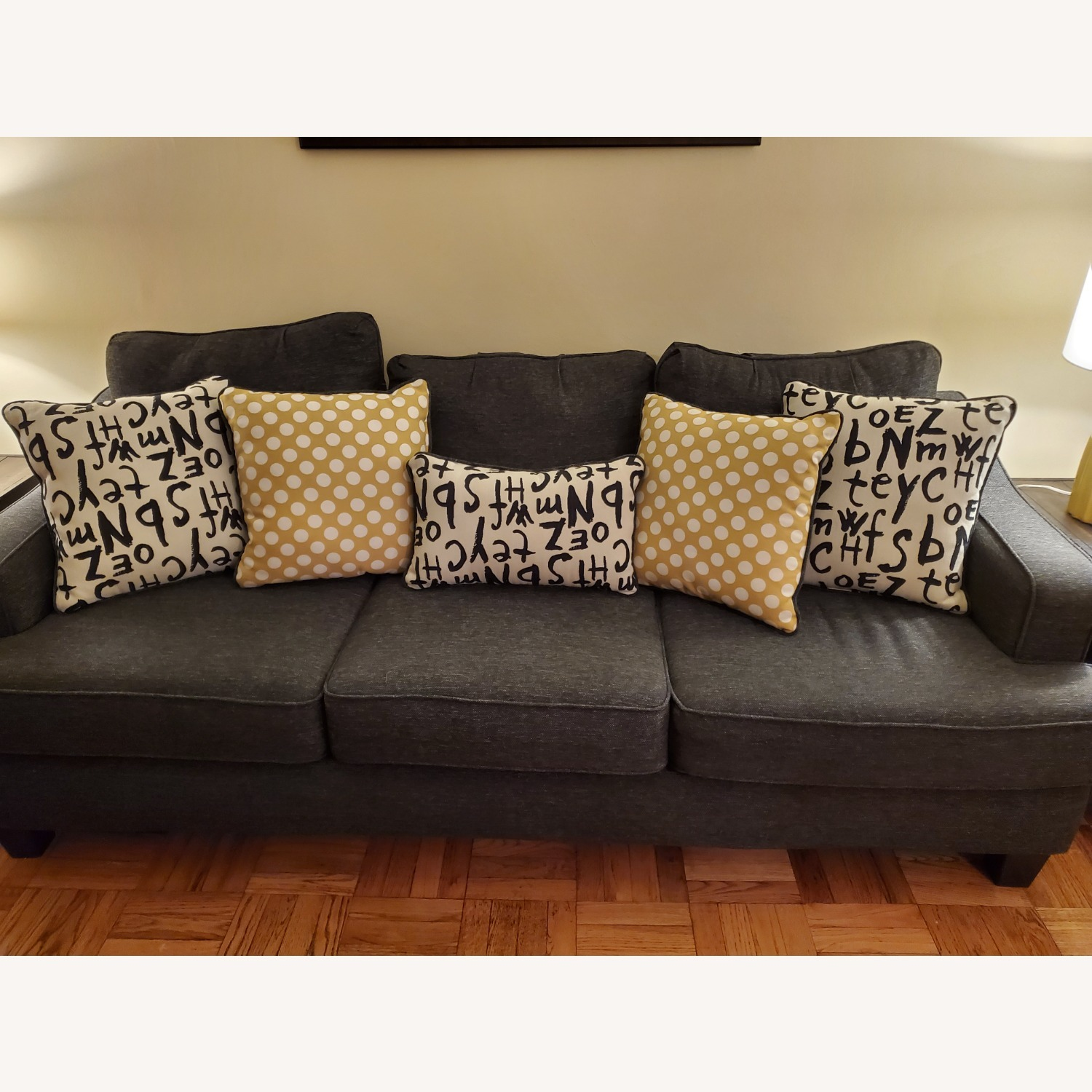 Raymour & Flanigan Grey Couch with Pillows - image-1