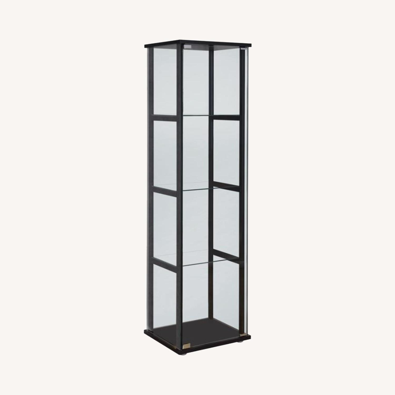 Curio Cabinet W/ 4-Tier Shelves In Black Finish - image-4