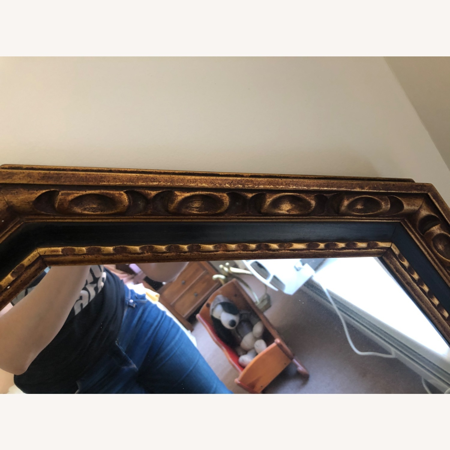 1960s Black and Gold Wood Mirror - image-1