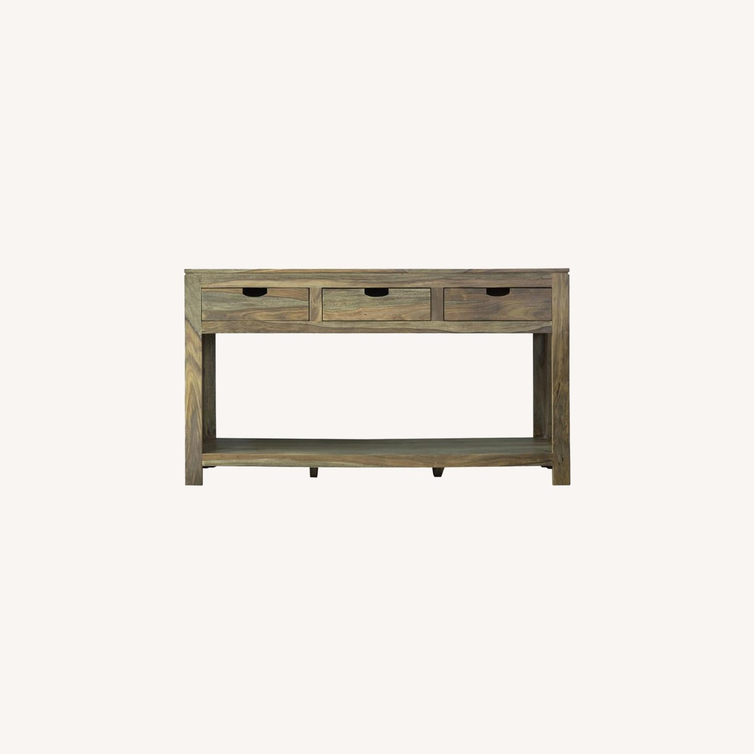 Console Table In Sheesham Grey Finish W/ 3 Drawers - image-3
