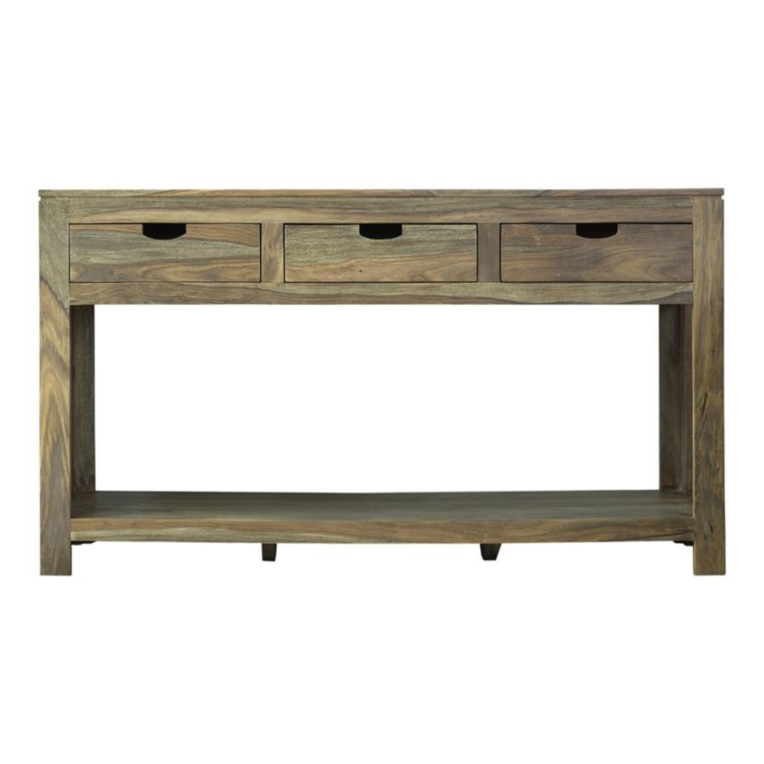 Console Table In Sheesham Grey Finish W/ 3 Drawers - image-0