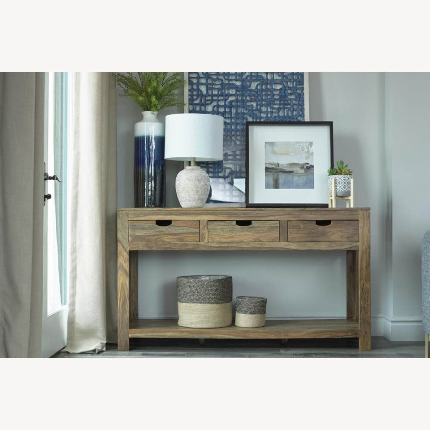 Console Table In Sheesham Grey Finish W/ 3 Drawers - image-1