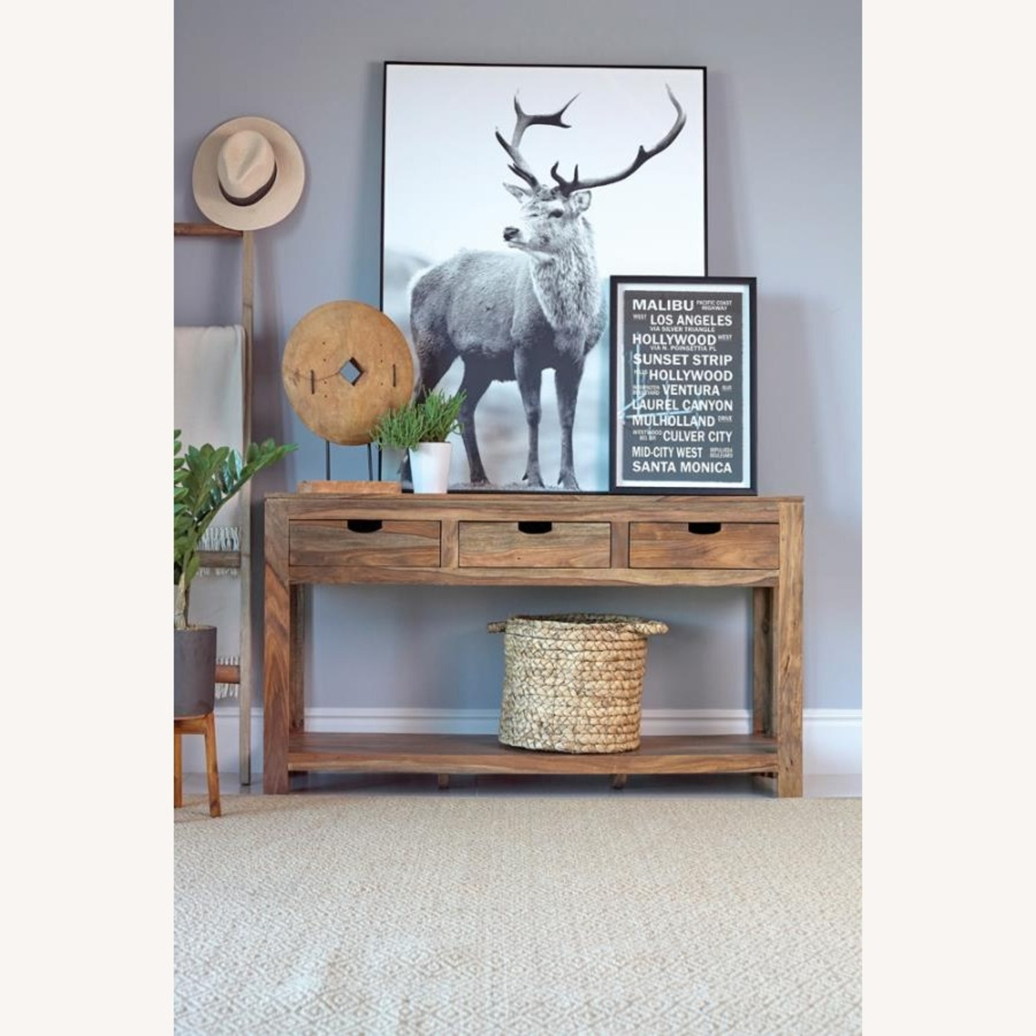 Console Table In Sheesham Grey Finish W/ 3 Drawers - image-2