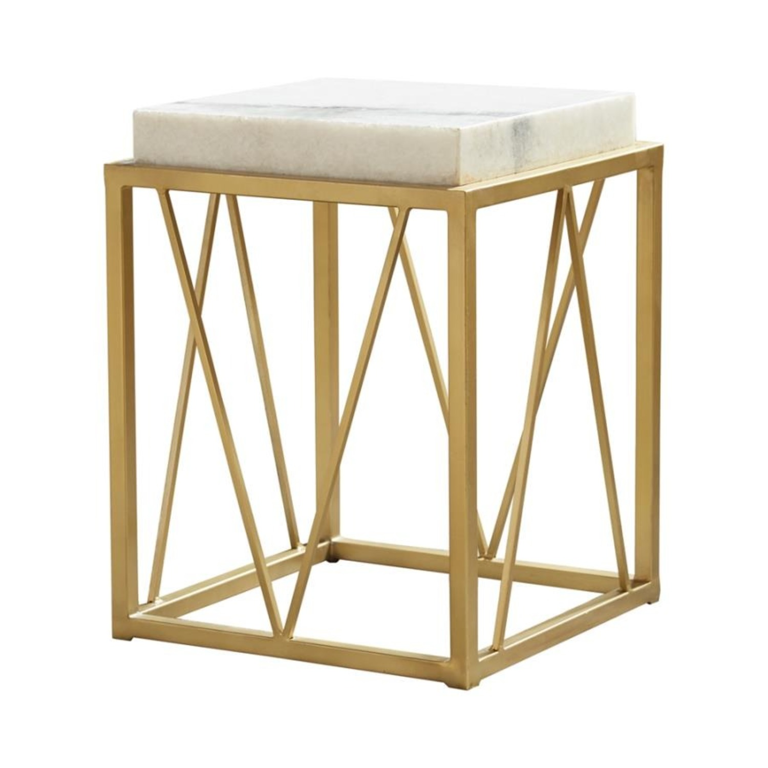 Accent Table In White Marble Finish And Gold Base - image-0