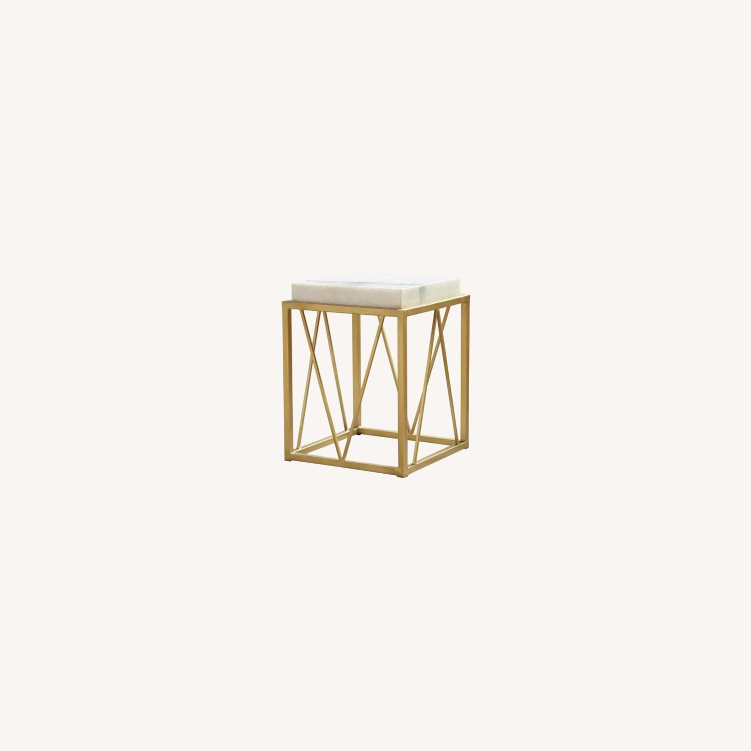Accent Table In White Marble Finish And Gold Base - image-3
