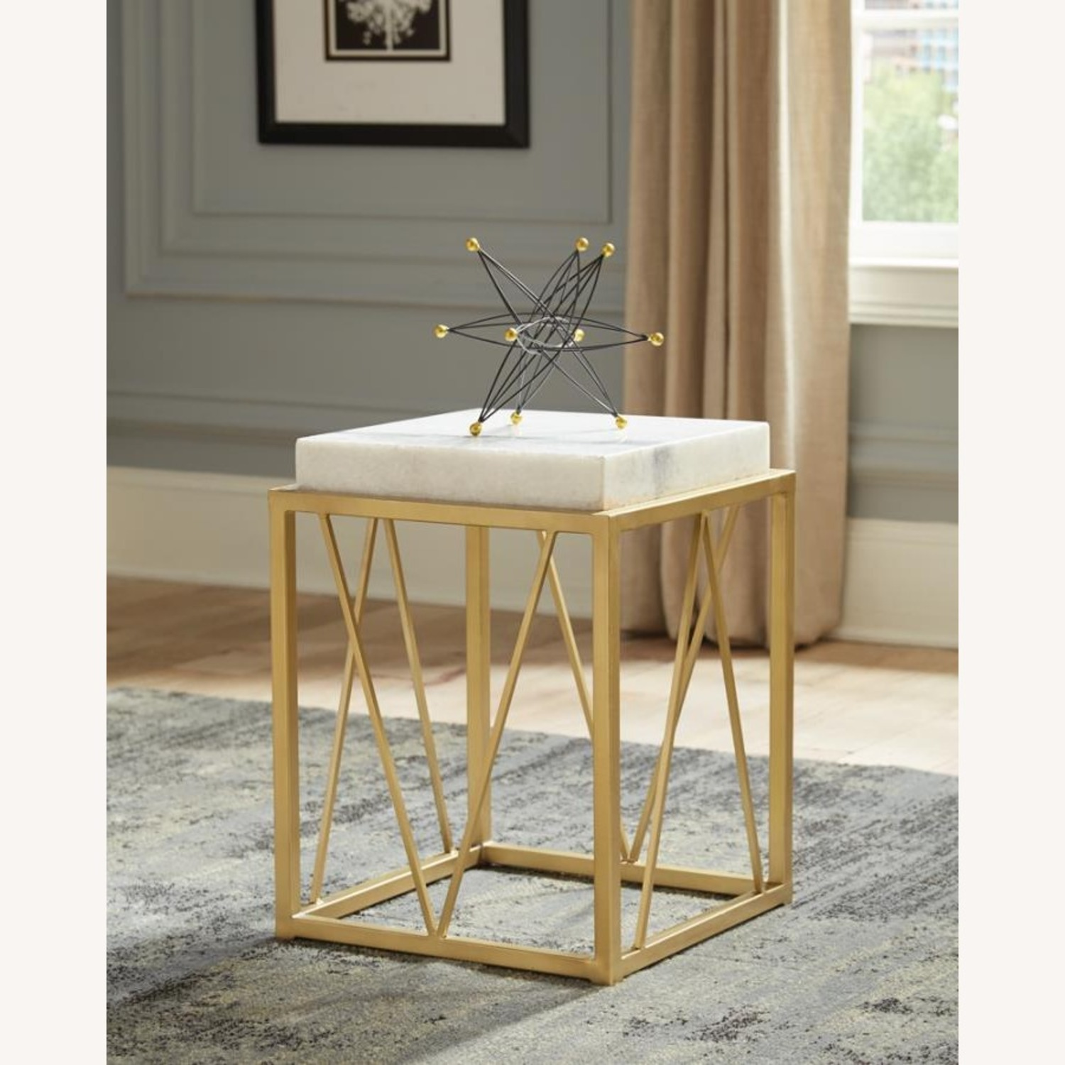 Accent Table In White Marble Finish And Gold Base - image-2