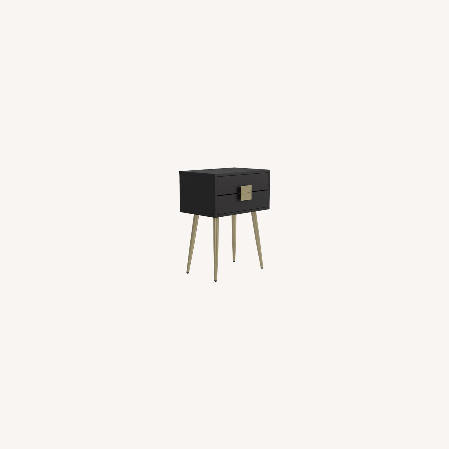 Accent Table In Cappuccino & Matte Brass Finish - image-6