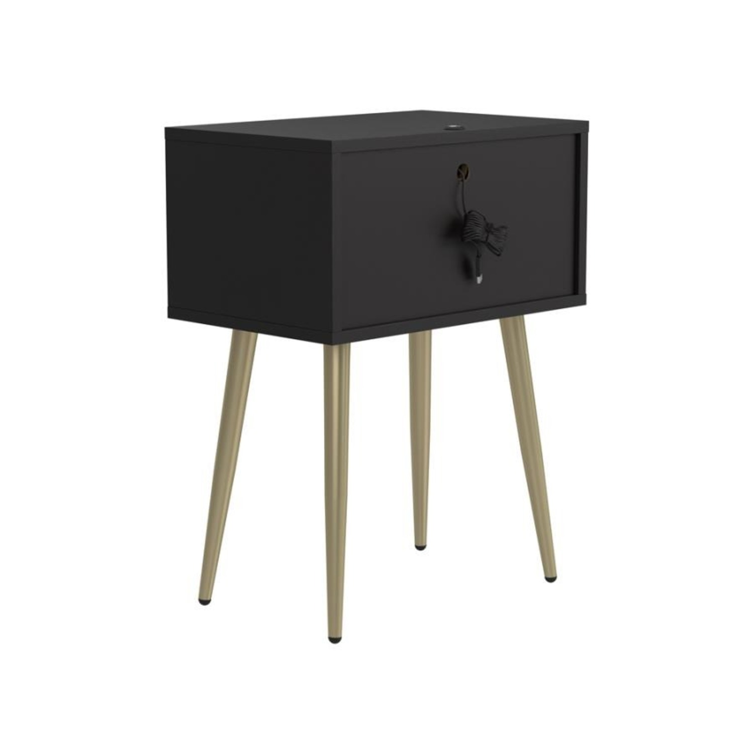 Accent Table In Cappuccino & Matte Brass Finish - image-4