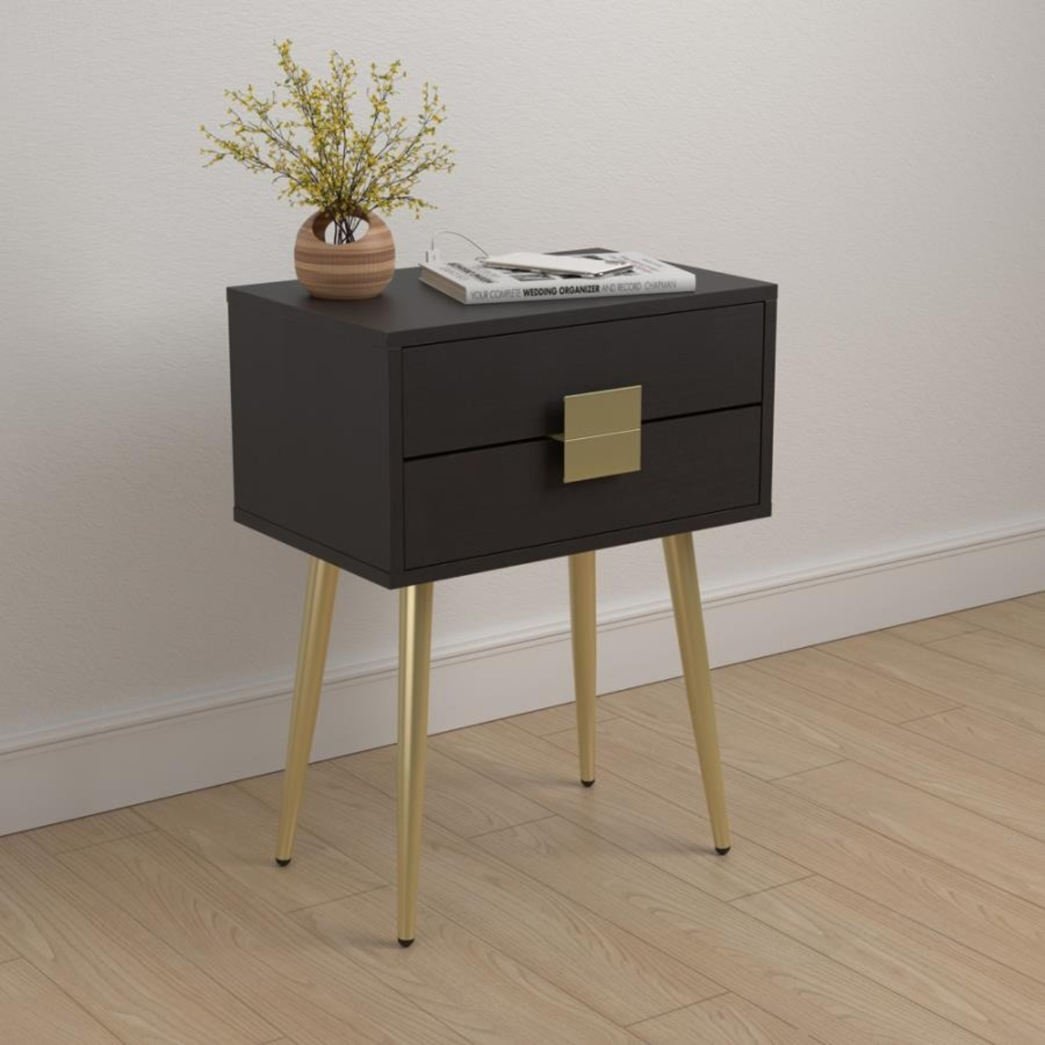 Accent Table In Cappuccino & Matte Brass Finish - image-5
