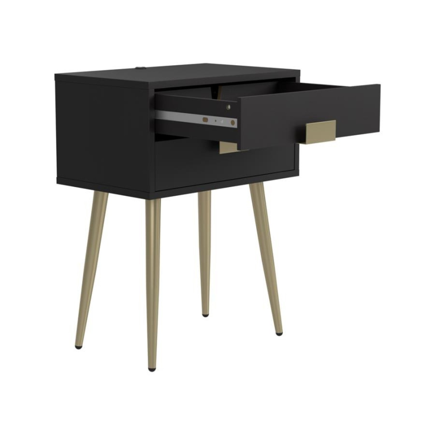Accent Table In Cappuccino & Matte Brass Finish - image-1