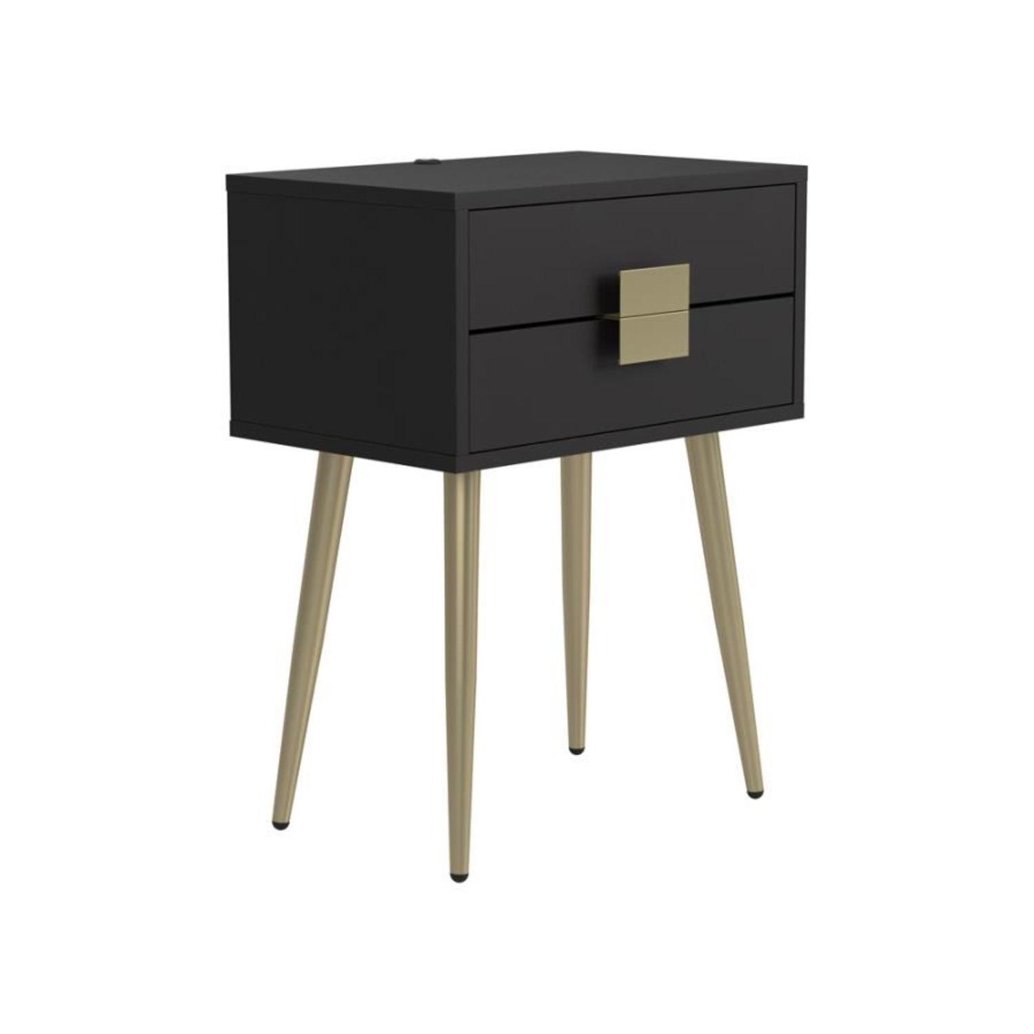 Accent Table In Cappuccino & Matte Brass Finish - image-0