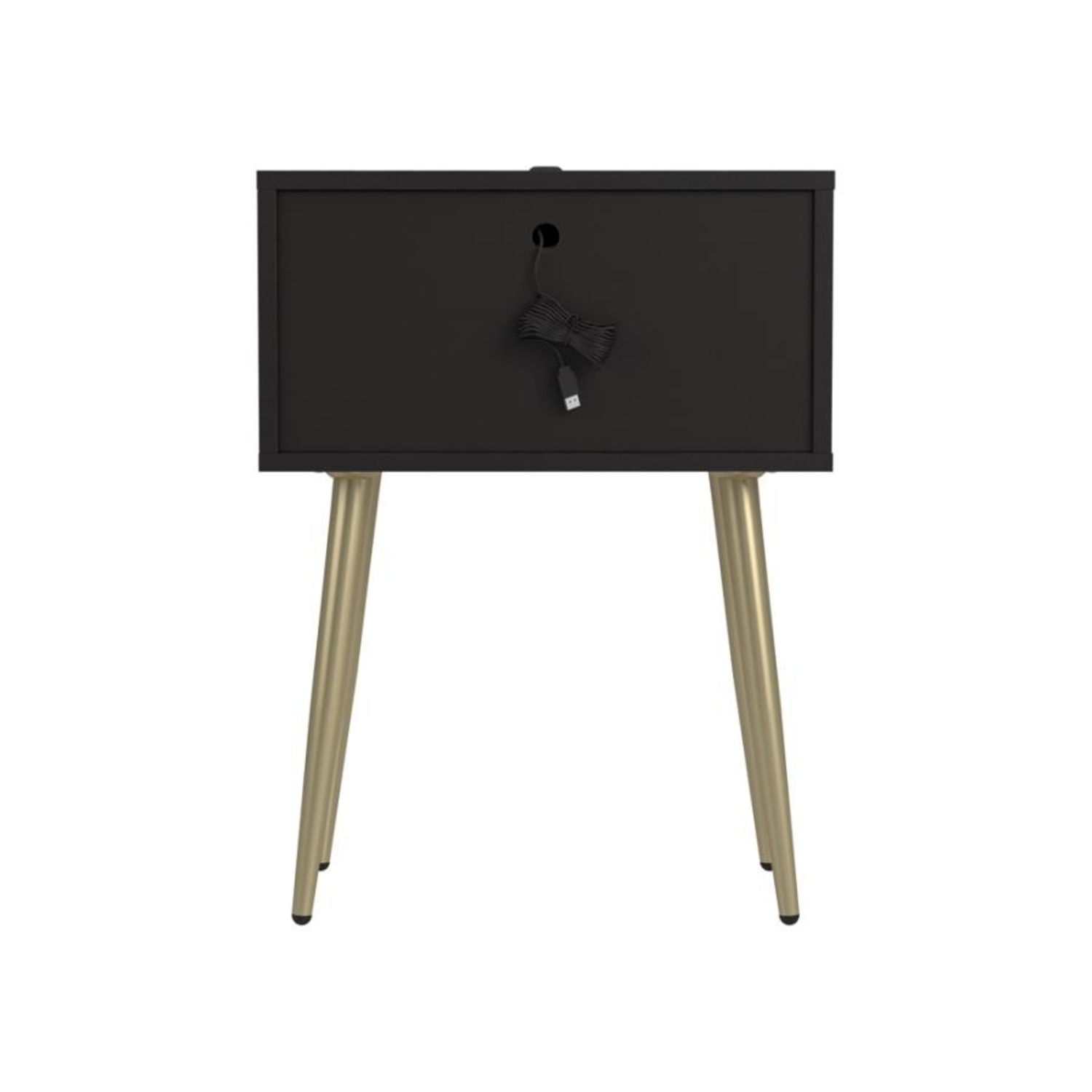 Accent Table In Cappuccino & Matte Brass Finish - image-3