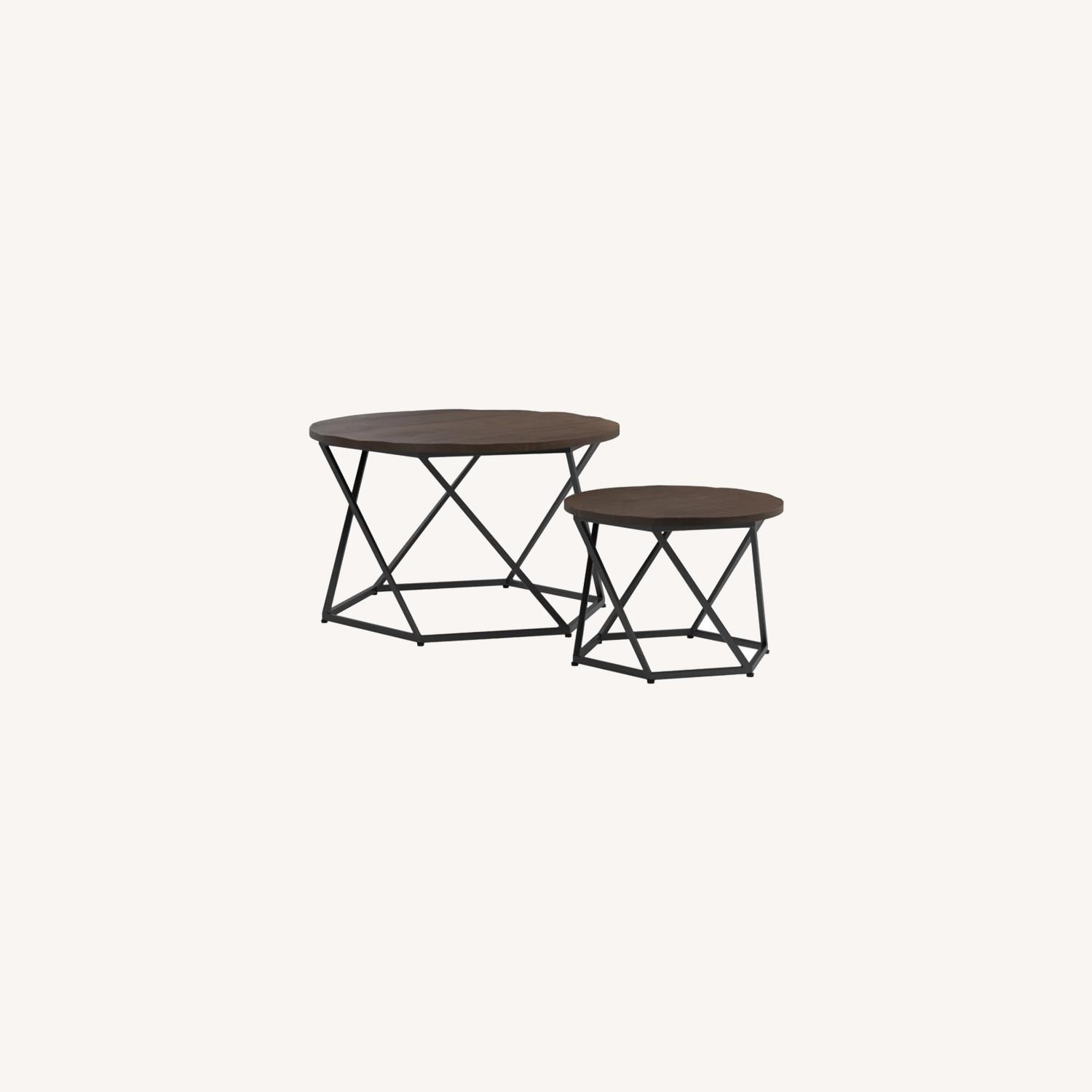 Nesting Table In Natural & Matte Black Finish - image-5
